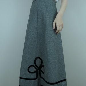 Vintage 70s wool felt maxi skirt